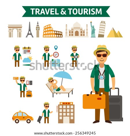 Travel and tourism infographic elements and world landmark icon set - stock vector