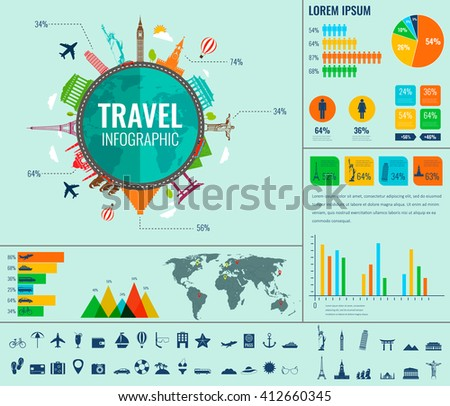 Travel and Tourism. Infographic set with charts and other elements. Vector illustration. - stock vector