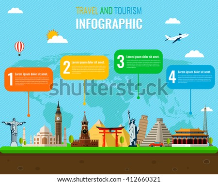 Travel and Tourism. Infographic set with landmarks. Vector illustration. - stock vector