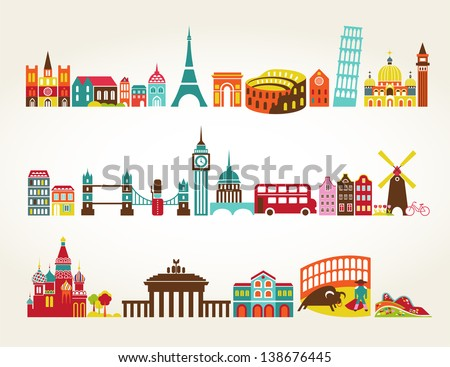 Travel and tourism locations - stock vector