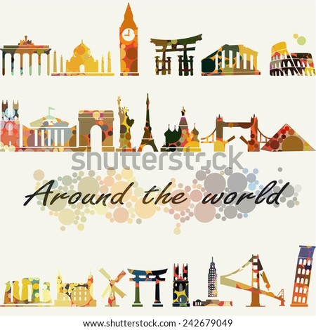 Travel and tourism locations around the world dotted vector illustration - stock vector