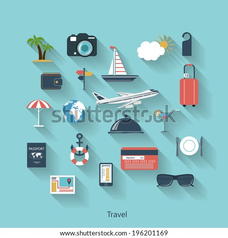Travel and tourism modern concept in flat design with long shadows and trendy colors for web, mobile applications, layouts, brochure covers etc. Vector eps10 illustration - stock vector