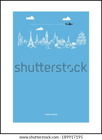 Travel and tourism poster . Drawn hands world attractions - stock vector