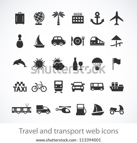 Travel and transport buttons set. Vector illustration. - stock vector