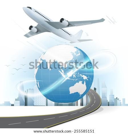 travel and transport concept with Asia world map vector illustration with cityscape background - stock vector