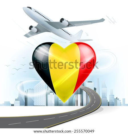 travel and transport concept with Belgium flag on heart vector illustration with cityscape background - stock vector