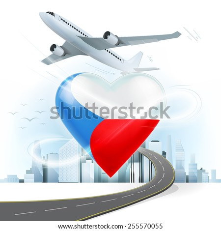 travel and transport concept with Czech Republic flag on heart vector illustration with cityscape background - stock vector