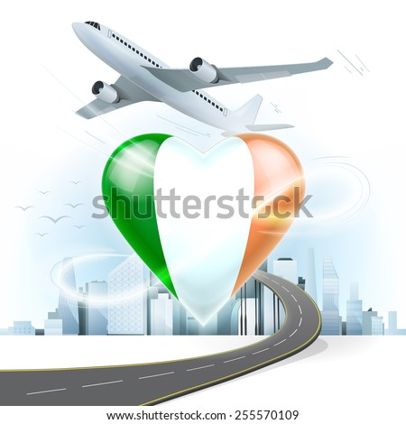 travel and transport concept with Ireland flag on heart vector illustration with cityscape background - stock vector