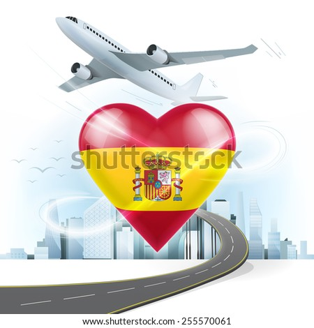 travel and transport concept with Spain flag on heart vector illustration with cityscape background - stock vector