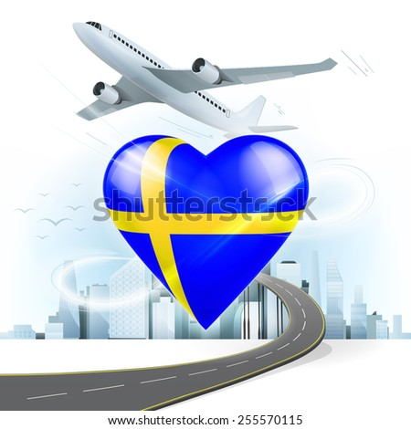travel and transport concept with Sweden flag on heart vector illustration with cityscape background - stock vector