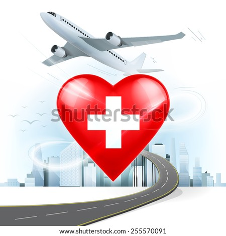 travel and transport concept with Switzerland flag on heart vector illustration with cityscape background - stock vector