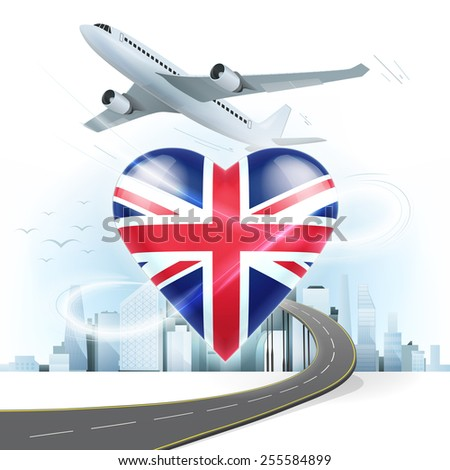 travel and transport concept with United Kingdom flag on heart vector illustration with cityscape background - stock vector