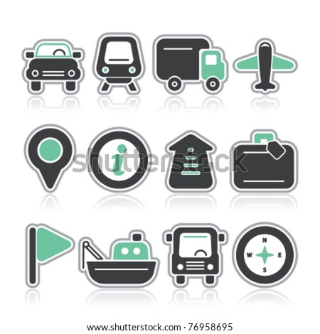 travel and transport contour icons - stock vector