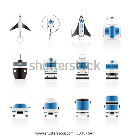 Travel and transportation icons - vector icon set - stock vector