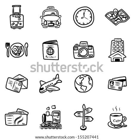 travel and transportation objects or icons / cartoon vector and illustration, hand drawn style, isolated on white background. - stock vector