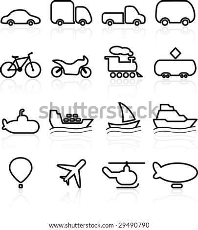 Travel and transportation vector icons - stock vector