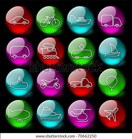 Travel and transportation vector icons - EPS10 - stock vector