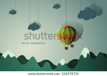 Travel and vacation background with paper effect - stock vector