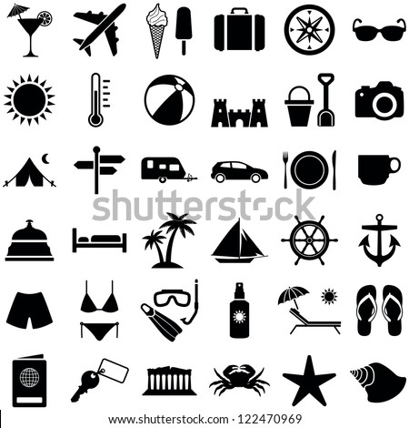 Travel and vacation icon collection - vector silhouette illustration - stock vector