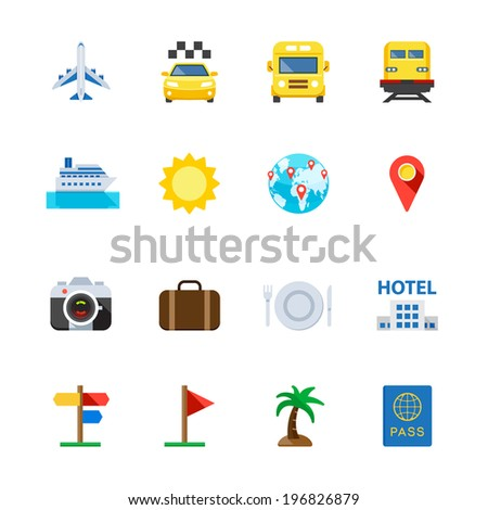 Travel and Vacation Icons : Flat Icon Set for Web and Mobile Application - stock vector