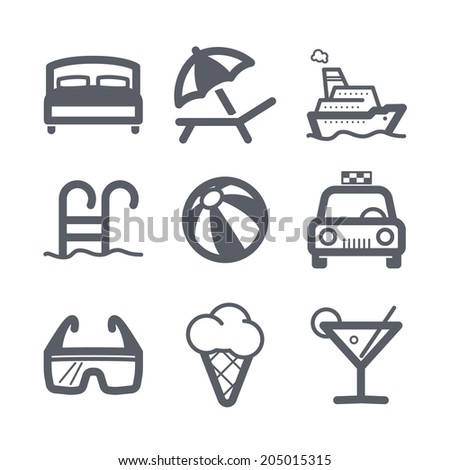 Travel and vacation Icons set Illustration set // 03 - stock vector