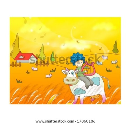 Travel Animation with Cute Child - playing happy music with lovely smiling young boy and funny dairy cattle in beautiful country on a background of romantic yellow sky at sunset : vector illustration - stock vector