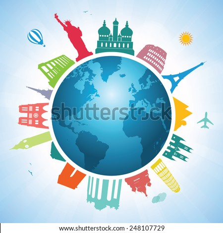 Travel Around World Postcard Tourism Vacation Stock Vector ...
