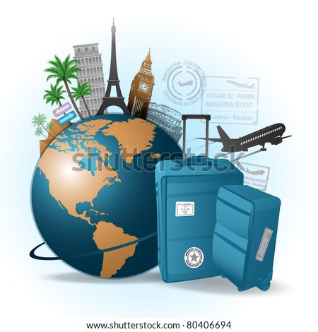 Travel around the world background - stock vector