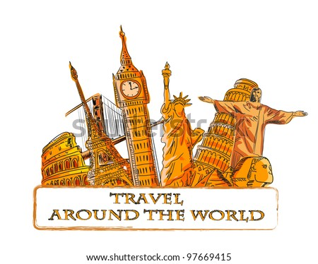 Travel around the world, background - stock vector