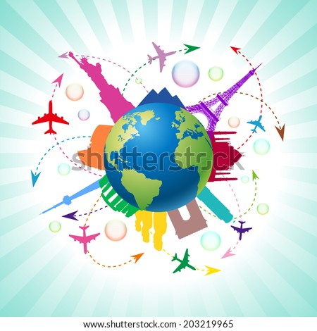 Travel around the world by airplane - stock vector