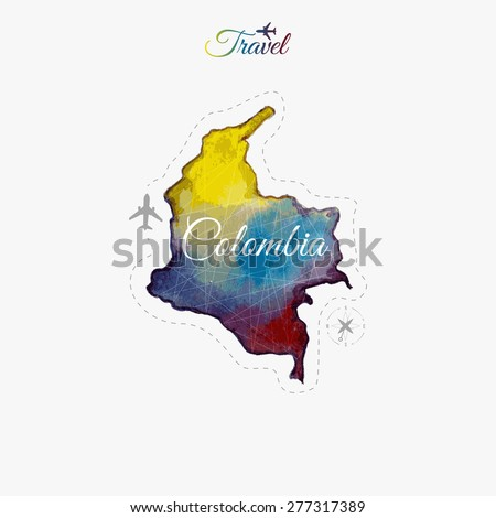 Travel around the  world. Colombia. Watercolor map - stock vector