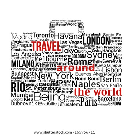 Travel around the world concept made with words drawing a suitcase, vector illustration - stock vector