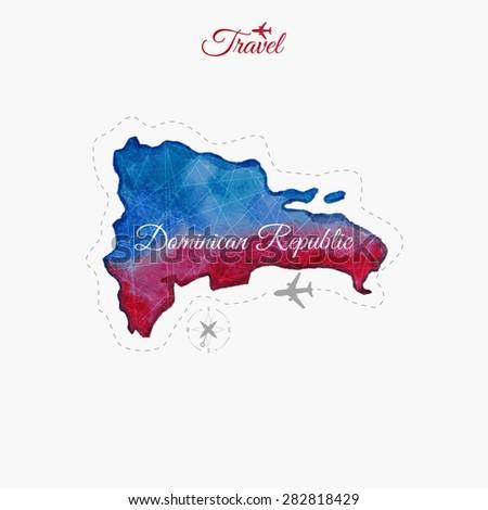 Travel around the  world. Dominican republic. Watercolor map - stock vector