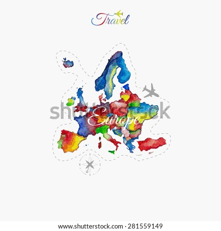Travel around the  world. Europe. Watercolor map - stock vector