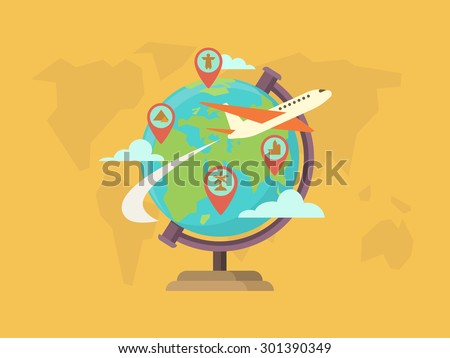 Travel around the world. Globe map, pin location, navigation and route, vector illustration - stock vector