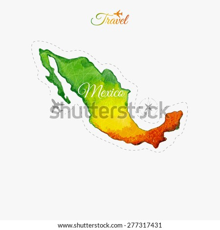 Travel around the  world. Mexico. Watercolor map - stock vector