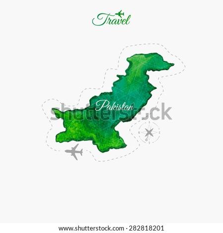 Travel around the  world. Pakistan. Watercolor map - stock vector