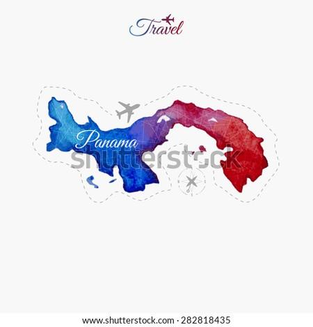 Travel around the  world. Panama. Watercolor map - stock vector