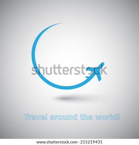 Travel around the World Plane icon - stock vector