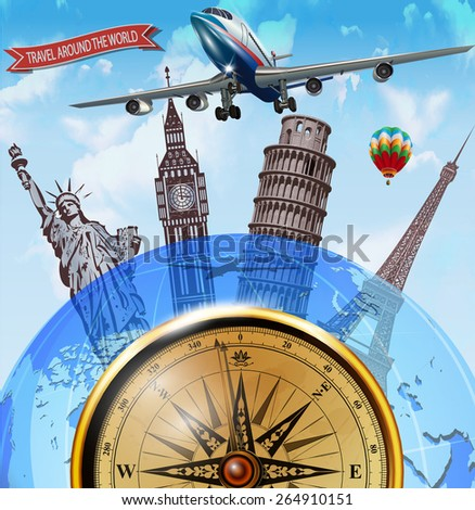 Travel around the world poster - stock vector