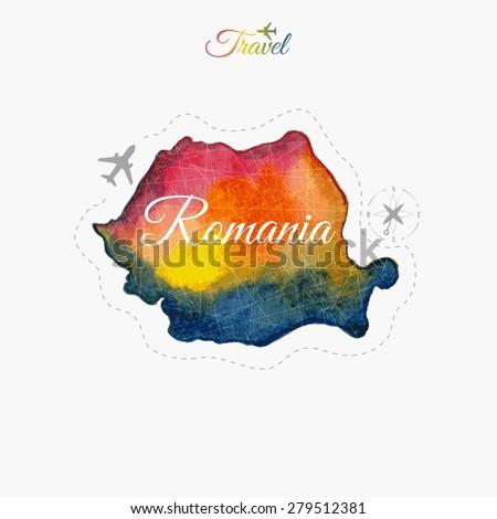 Travel around the  world. Romania. Watercolor map - stock vector
