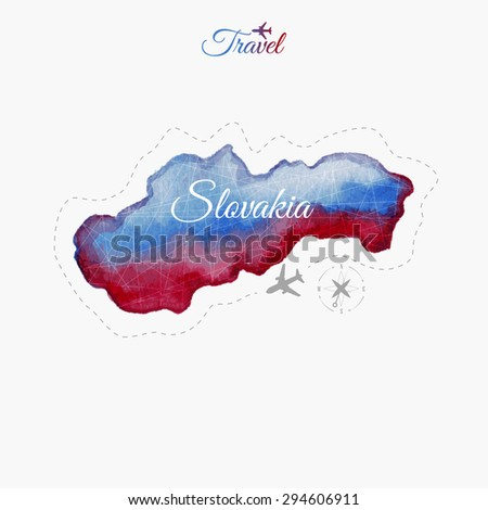 Travel around the  world. Slovakia. Watercolor map - stock vector