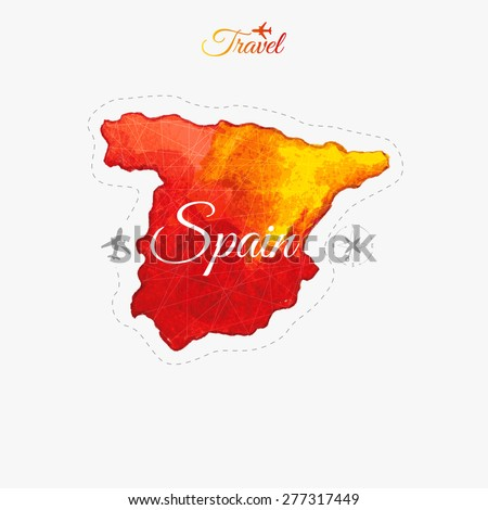 Travel around the  world. Spain. Watercolor map - stock vector
