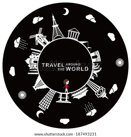 Travel around the world Travel around the world, including some famous landmarks, Tokyo tower, Leaning Tower of Pisa, Taj Mahal, windmill etc. - stock vector