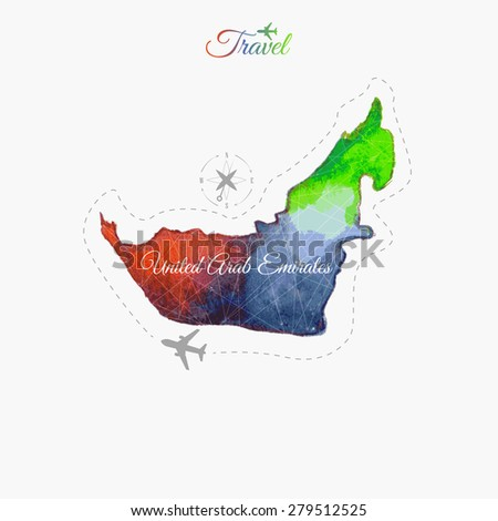 Travel around the  world. United Arab Emirates. Watercolor map - stock vector