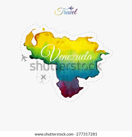 Travel around the  world. Venezuela. Watercolor map - stock vector