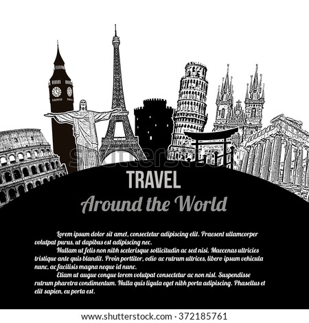 Travel around the World, vintage touristic poster on white background with space for your text, vector illustration - stock vector