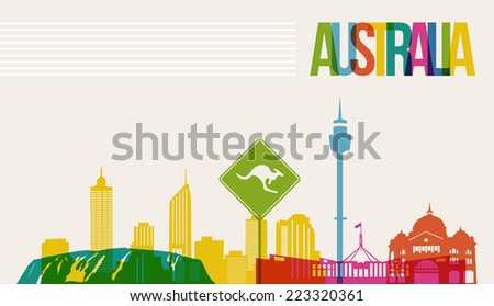Travel Australia famous landmarks skyline multicolored design background. Transparency vector organized in layers for easy create your own website, brochure or marketing campaign. - stock vector