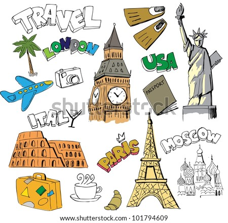 Travel background - stock vector