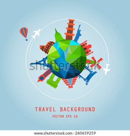 travel background, around the tourist world concept, image. Holidays and vacation. air travelling. - stock vector